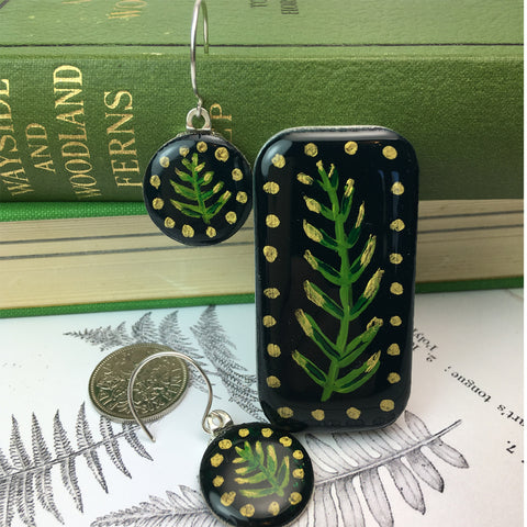 Painted Leaves Sixpence Earrings and Teeny Tiny Tin - Forest