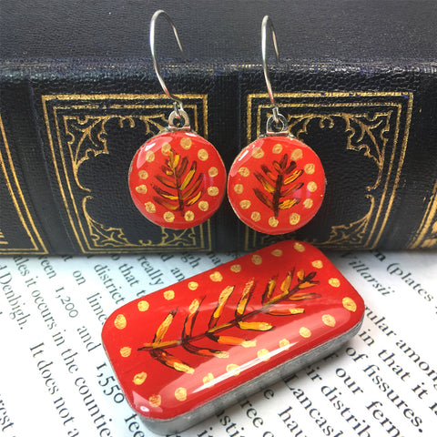 Woodlands Sixpence Earrings and Teeny Tiny Tin - Red
