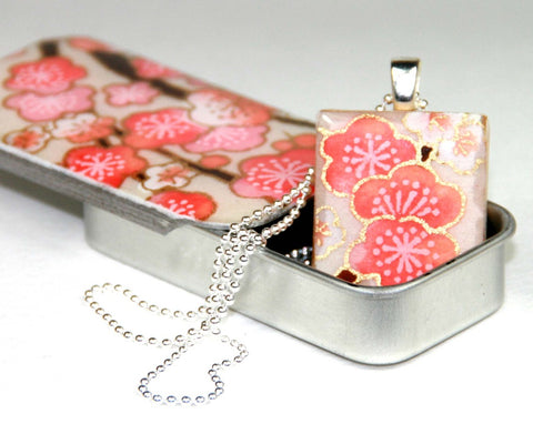 A Scrabble Tile Pendant and Teeny Tiny Tin Sakura Pink