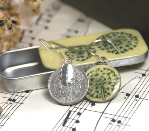 Cottage Garden Sixpence Earrings and Teeny Tiny Tin - Allium