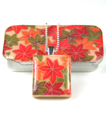A Scrabble Tile Pendant and Teeny Tiny Tin Autumn Maple