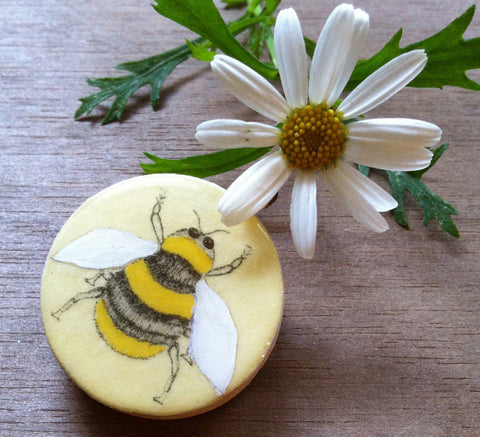 Cottage Garden Draughts Piece Brooch - Bee