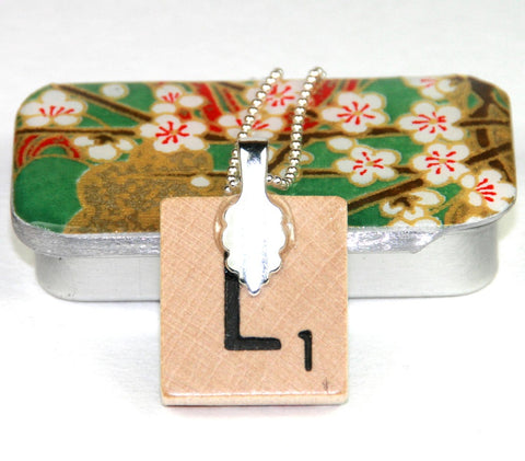 A Scrabble Tile Pendant and Teeny Tiny Tin Chiyo Green
