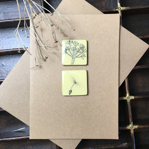Art Card - Two Tiles, Parsley, Dandelion Seed