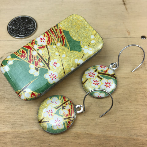 Sixpence Earrings and Teeny Tiny Tin Chiyo Green