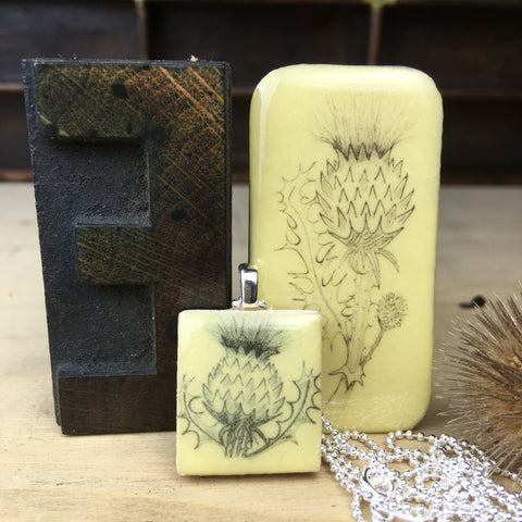 Cottage Garden Scrabble Tile Pendant and Teeny Tiny Tin - Thistle