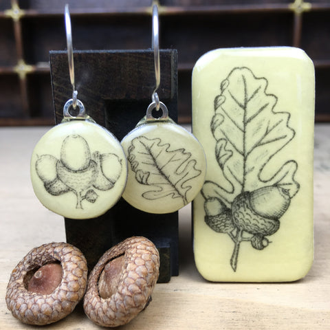Cottage Garden Sixpence Earrings and Teeny Tiny Tin - Acorns