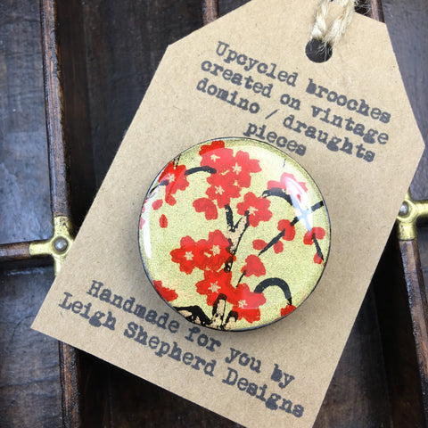 Draughts Piece Brooch - Golden Blossom Red