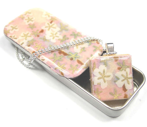 Scrabble Tile Pendant and Teeny Tiny Tin Tiny Pink Flowers