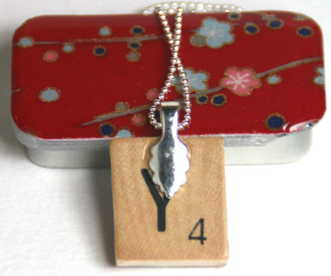 A Scrabble Tile Pendant and Teeny Tiny Tin Plum