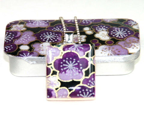 A Scrabble Tile Pendant and Teeny Tiny Tin Sakura Amethyst