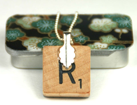 A Scrabble Tile Pendant and Teeny Tiny Tin Sakura Green