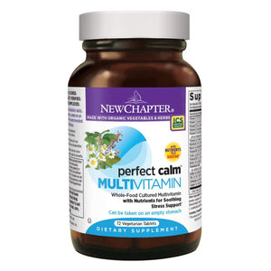 New Chapter Perfect Calm - Daily Multivitamin for Stress & Mood Support with B Vitamins + Holy Basil + Lemon Balm - 72 Vegetarian Tablets