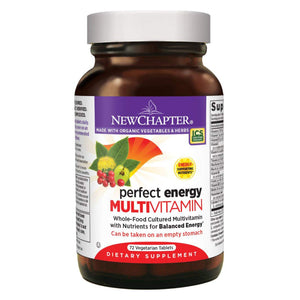 New Chapter Perfect Energy Multivitamin with Vitamin B12 + Vitamin B6 + Vitamin D3 - 72 Vegetarian Tablets