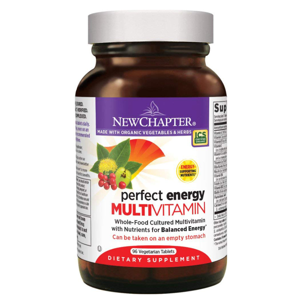 New Chapter Perfect Energy Multivitamin with Vitamin B12 + Vitamin B6 + Vitamin D3 - 96 Vegetarian Tablets