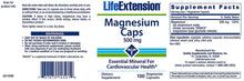 Life Extension Magnesium Caps 500 mg Essential Mineral Cardiovascular Health - 100 Vegetarian Capsules