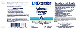 Life Extension Adrenal Energy Formula Enhances Energy, Stamina, Quality of Life - 120 Vegetarian Capsules