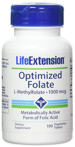 Life Extension Optimized Folate L-Methylfolate 1000 mcg - 100 Vegetarian Tablets