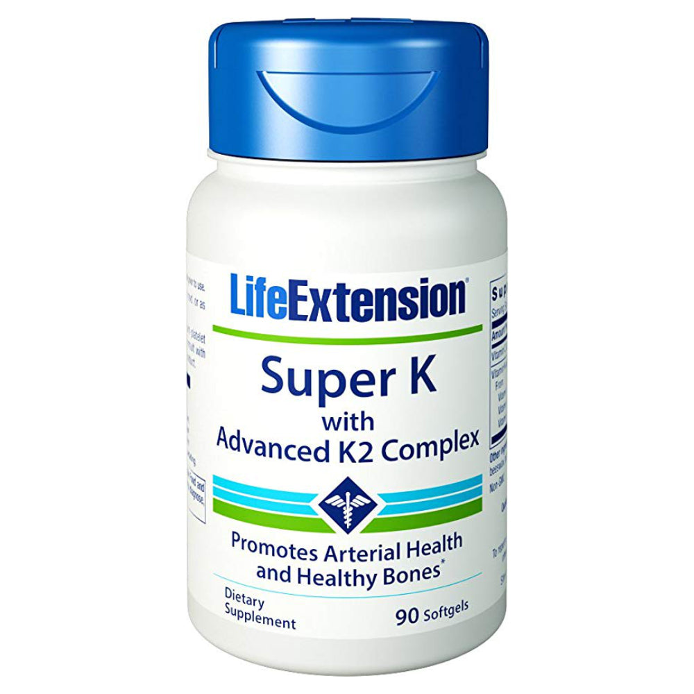 Life Extension Super K with Advanced K2 Complex Promotes Healthy Bones and Arterial Health - 90 Softgels