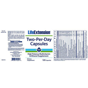 Life Extension Two-Per-Day High Potency Multivitamin & Mineral Supplement - 120 Capsules