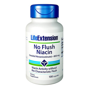 Life Extension No Flush Niacin Vitamin B3 Supports Heart, Liver, Metabolism - 100 Capsules