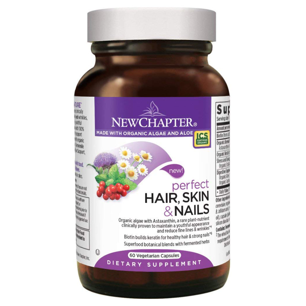 New Chapter Perfect Hair, Skin & Nails Supplement Builds Healthy Hair & Strong Nails with Biotin + Astaxanthin - 60 Vegetarian Capsules