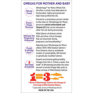 New Chapter Wholemega for Moms Prenatal Fish Oil Supplement with Omega-3 & Vitamin D3 - 90 Softgels