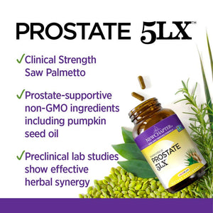 New Chapter Prostate 5LX Holistic Prostate Support Supplement with Saw Palmetto - 60 Vegetarian Capsules