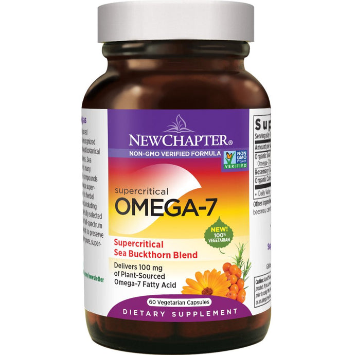 New Chapter Supercritical Omega-7 with Sea Buckthorn Plant-Sourced Fatty Acids Non-GMO - 60 Vegetarian Capsules