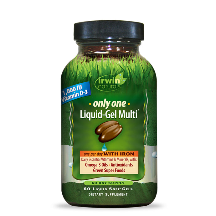 Irwin Naturals Only One Liquid-Gel Multi with Iron + Omega-3 Oils, Antioxidants, Green Super Foods - 60 Liquid Softgels