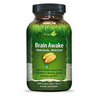 Irwin Naturals - Brain Awake - 60 ct - Think Clearly...Works Fast! High Performance Booster with AlphaWave L-Theanine, Bacopa, InnovaTea plus MCT's