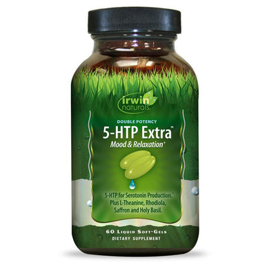 Irwin Naturals - Double Potency 5-HTP Extra - 60 ct - Mood & Relaxation; 5-HTP for Serotonin Production Plus L-Theanine, Rhodiola, Saffron and Holy Basil