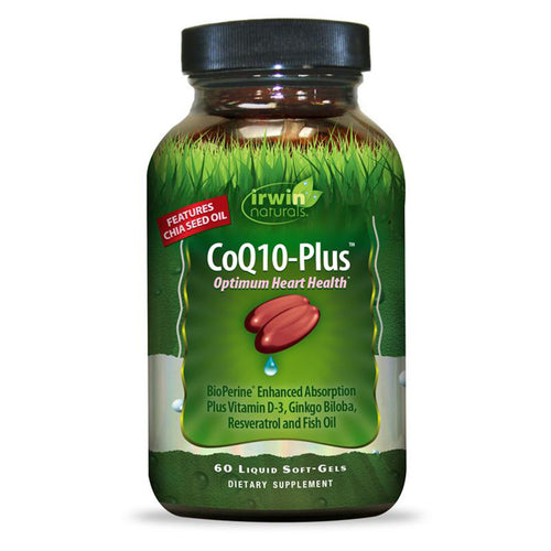 Irwin Naturals - CoQ10-Plus - 60 ct - Optimum Heart Health; BioPerine Enhanced Absorption Plus Vitamin D-3, Ginkgo Biloba, Resveratrol and Fish Oil; features Chia Seed Oil