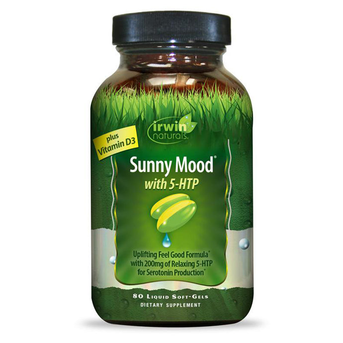 Irwin Naturals Sunny Mood with 200mg 5-HTP plus Vitamin D3 - 80 Liquid Softgels