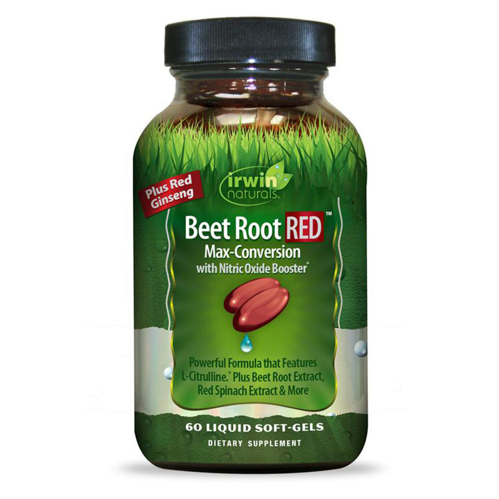 Irwin Naturals Beet Root RED Max-Conversion with Nitric Oxide Booster for Cardiovascular Health Blood Flow Support - 60 Soft-Gels
