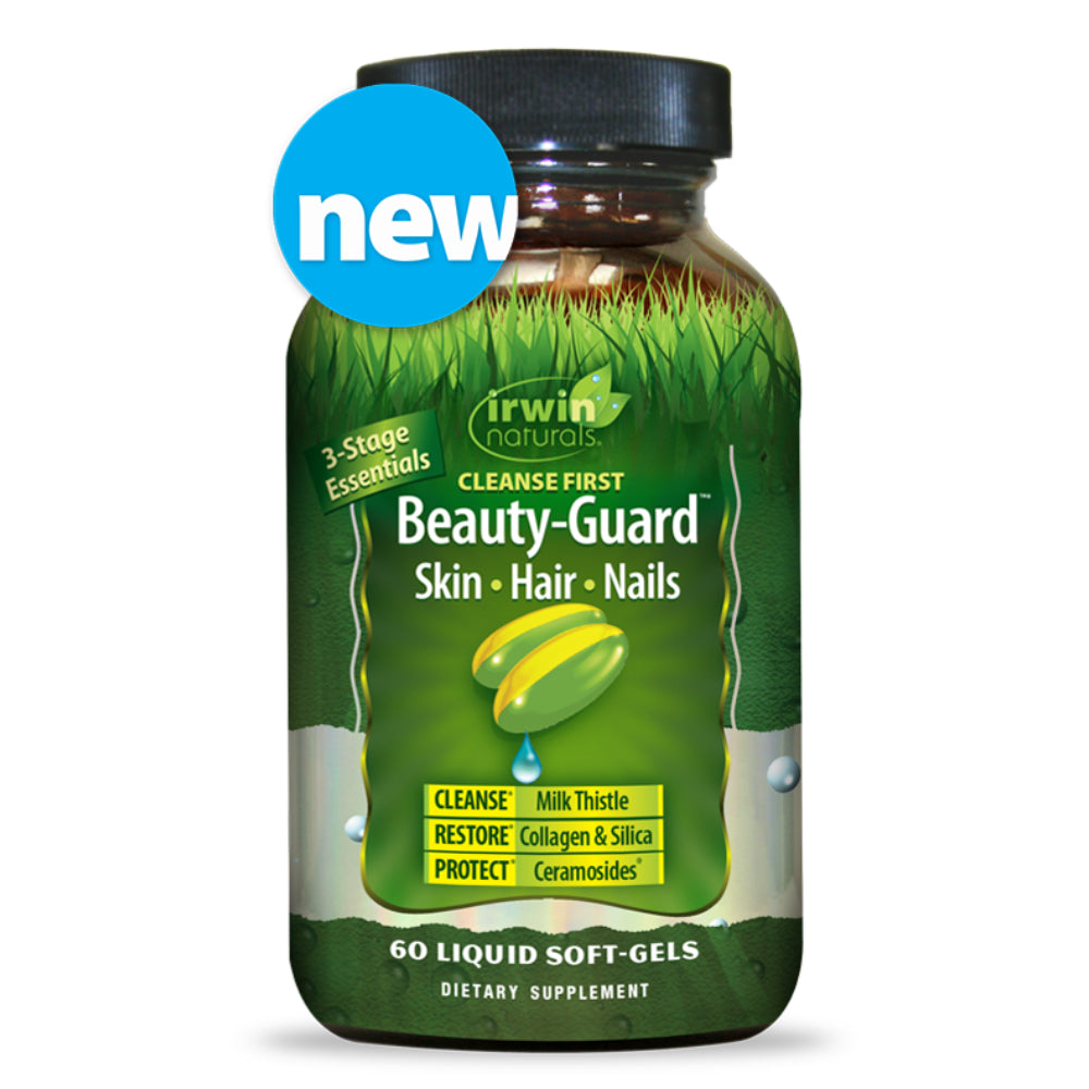 Irwin Naturals - Beauty-Guard - Skin Hair Nails, 3-Stage Essentials: Cleanse First, Restore, & Protect (9707) - 60 Softgels