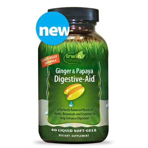Irwin Naturals - Ginger & Papaya Digestive-Aid - Herb Botanical Enzyme Blend (9723) - 60 Softgels