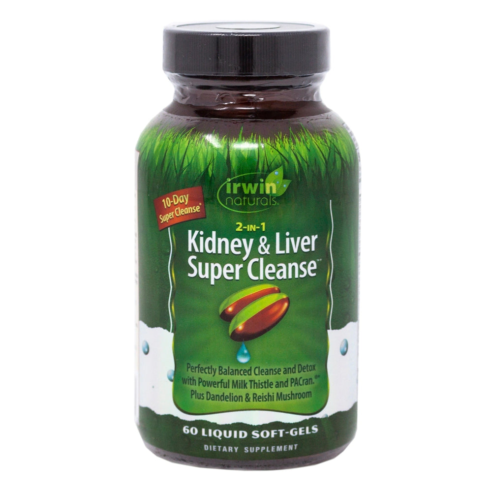 Irwin Naturals 2-in-1 Kidney and Liver Super Cleanse with Milk Thistle, Dandelion Detox Supplement 60 Liquid Softgels