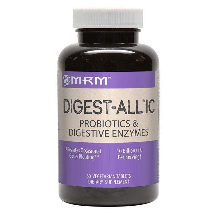 MRM Digest-All IC Probiotics & Digestive Enzymes, Digestion Supplement, 60 Vegetarian Tablets