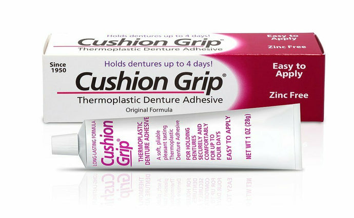 Cushion Grip Thermoplastic Denture Adhesive 1 OZ (28g), Waterproof and Zinc Free