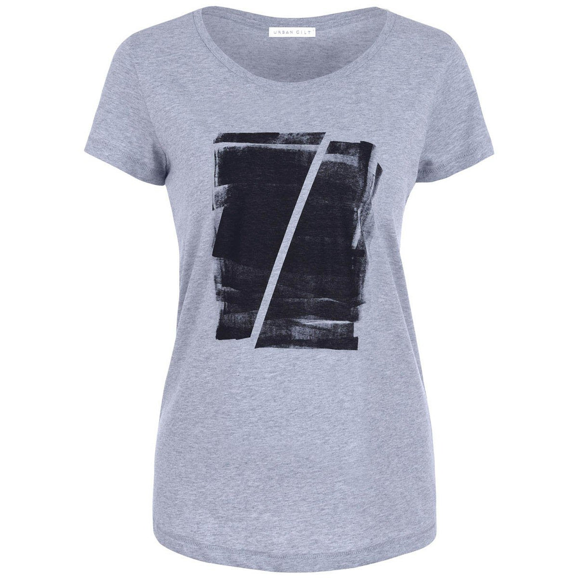 Maddox Grey Abstract Print T-shirt Front View