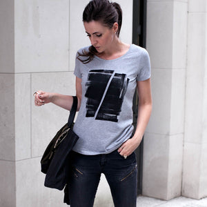 Maddox Grey Abstract Print T-shirt Lifestyle 1