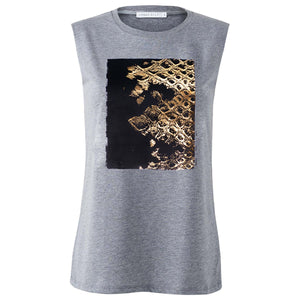 Chiltern Grey Gold Snakeskin Print Top Front View
