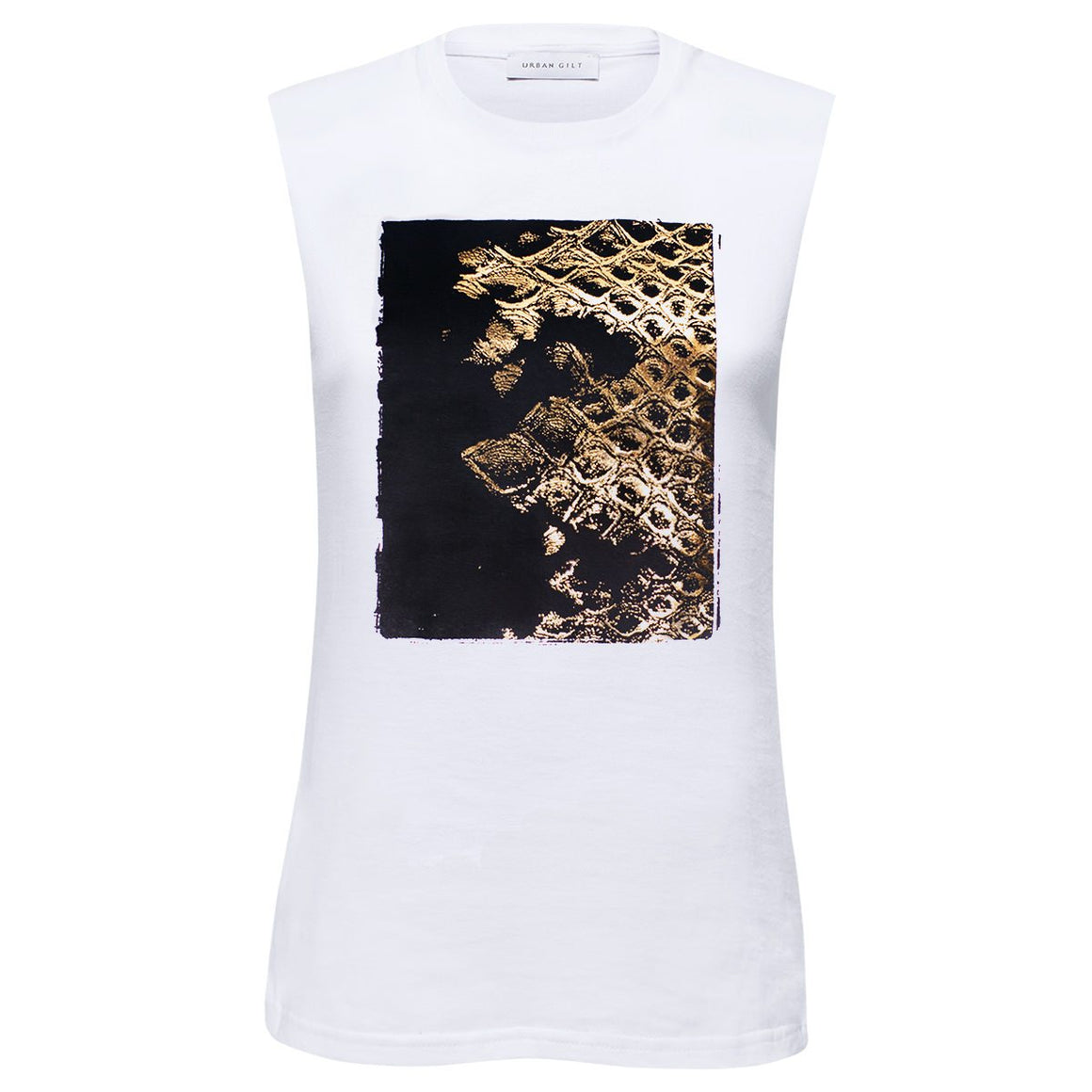 Chiltern White Gold Snakeskin Print Top Front View