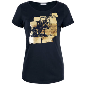 Audley Black Gold Abstract Print T-shirt Front View