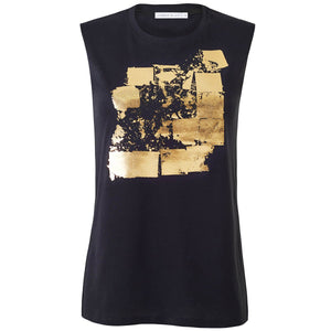 Seymour Black Gold Abstract Print Top Front View