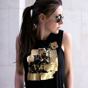 Seymour Black Gold Abstract Print Top Lifestyle 1
