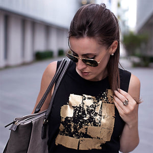 Seymour Black Gold Abstract Print Top Lifestyle 2