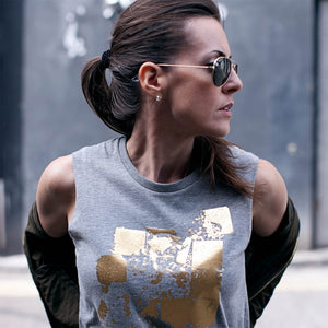 Seymour Grey Gold Abstract Print Top Lifestyle 1
