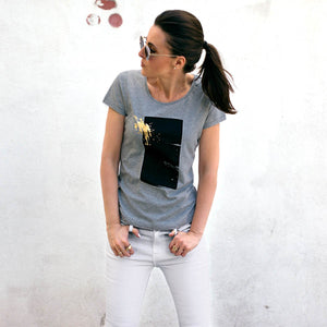 Brook Grey Abstract Gold Splash Print T-shirt Lifestyle 1